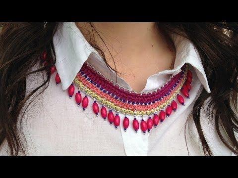 Вязаное ожерелье с цепочкой - YouTube