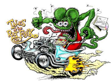"my dad had a hot rod when I was young and I remember these ""rat fink"" drawings in his studio."