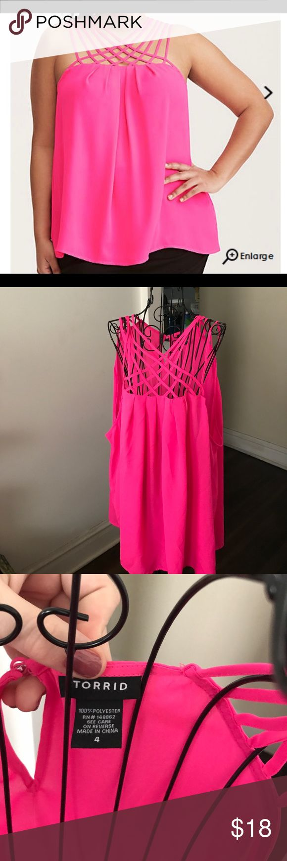 Torrid neon pink strappy neck  top, size 4X New without tags. This is a lightweight georgette top with a strappy neck detail and a button detail in the back. It is a beautiful neon pink color. This is a Torrid size 4; please see the attached size chart. I'm motivated to sell, so if you're interested please make me an offer. torrid Tops