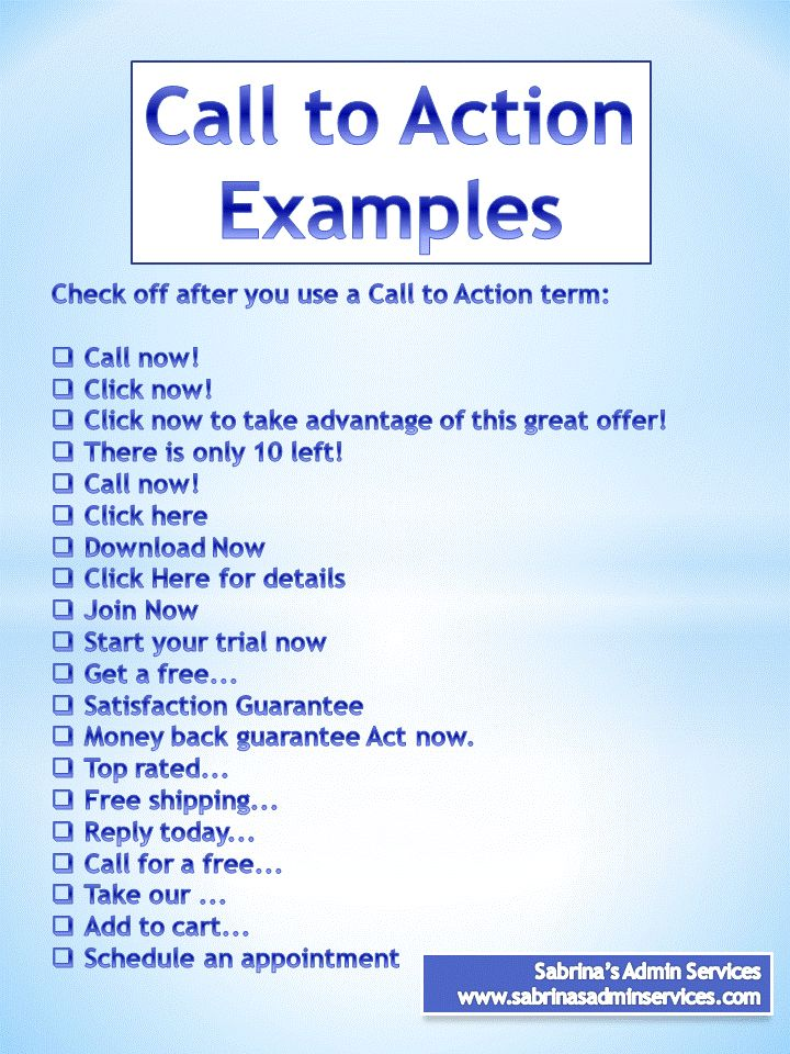 Business plan call to action marketing