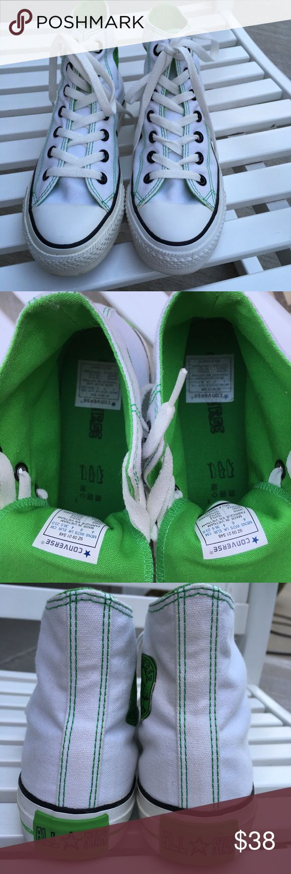 CONVERSE HIGH TOP NWT Converse high top, green and white, comfortable sneakers. 🌸 Converse Shoes Athletic Shoes