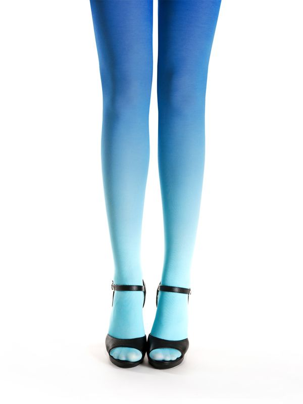 Turquoise-blue ombre, hand dyed superb quality ombre tights