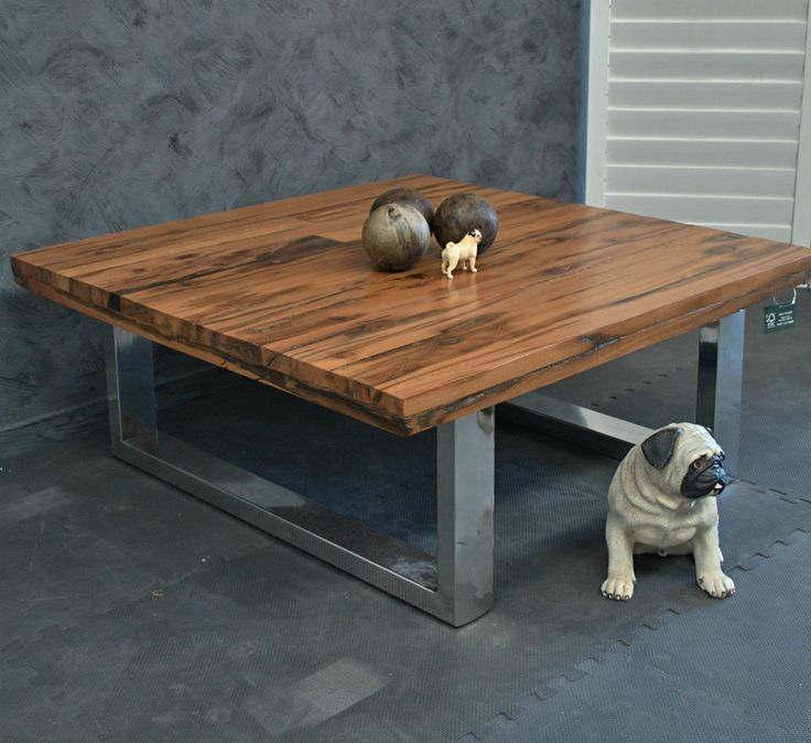 AMAZING RUSTIC INDUSTRIAL RECYCLED TIMBER & STAINLESS STEEL BASE COFFEE TABLE