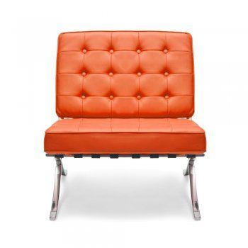 Mies van der Rohe style Orange Barcelona Chair