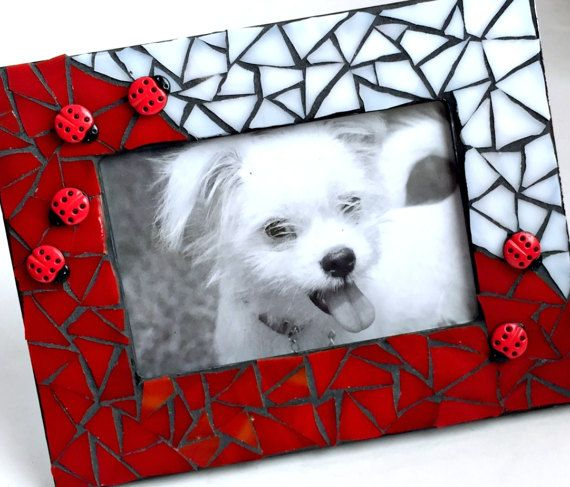 Ladybug Mosaic Frame, Mosaic Ladybug Red and White Picture Frame, Red White LadyBug Mosaic Frame, Lady Bug Mosaic F