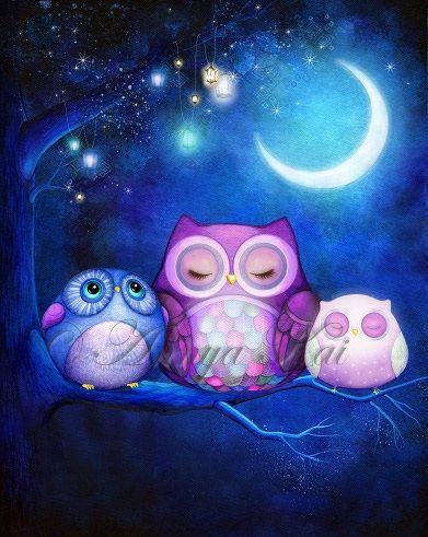 Pépinière Art hiboux - bois mur aquarelle Art - Goodnight Moon - livraison - 8 x 10, 11 x 14, 12 x 16 + tirages gratuite
