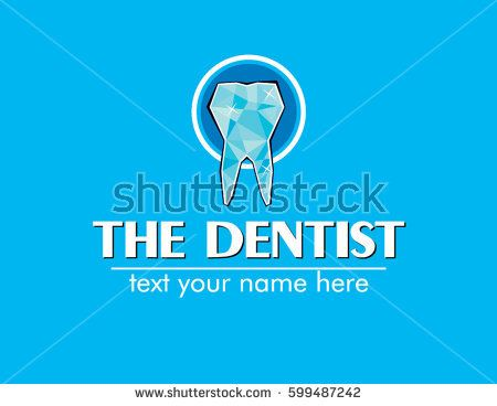 vector logo and icon of teeth shiny crystals with a circle with a text the dentist
