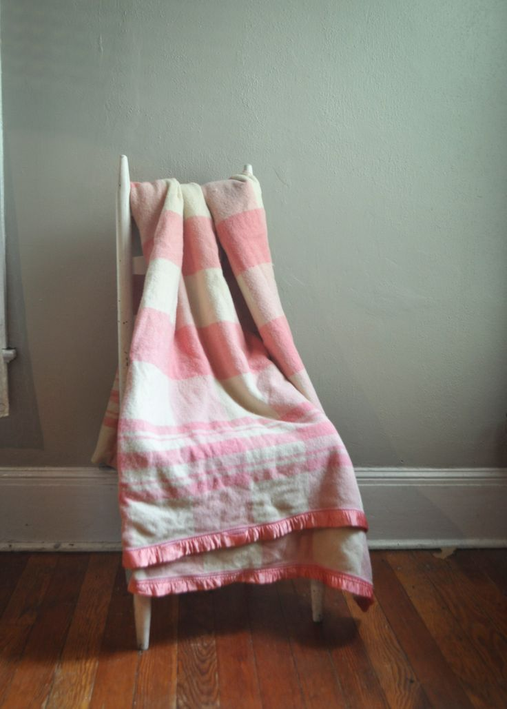 Vintage  Wool Camp Blanket Pink and Off White Plaid Classic Americana by drowsySwords on Etsy