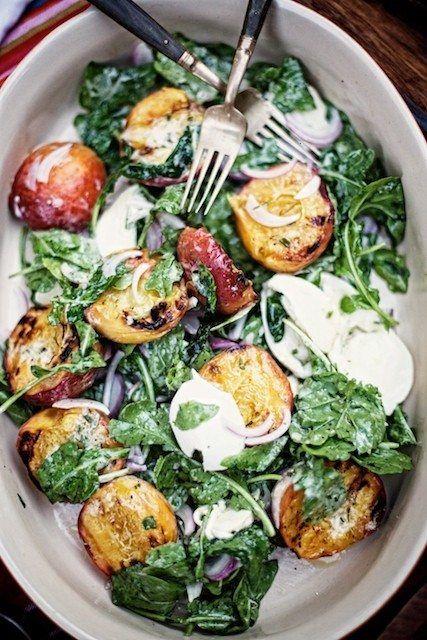 Grilled peaches, arugula & mozzarella salad (with a garnish of slithered red onions, dijon, balsamic, creme fraiche) - yum!