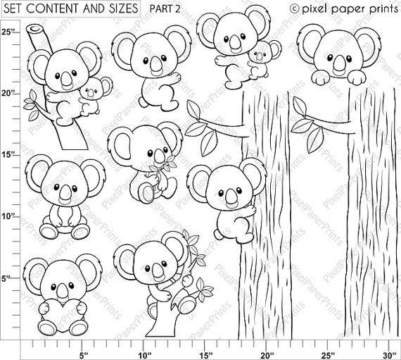 Koalas Digital Stamps Clipart Line art di pixelpaperprints