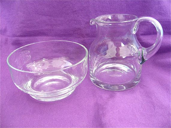 Glass Sugar Bowl And Creamer