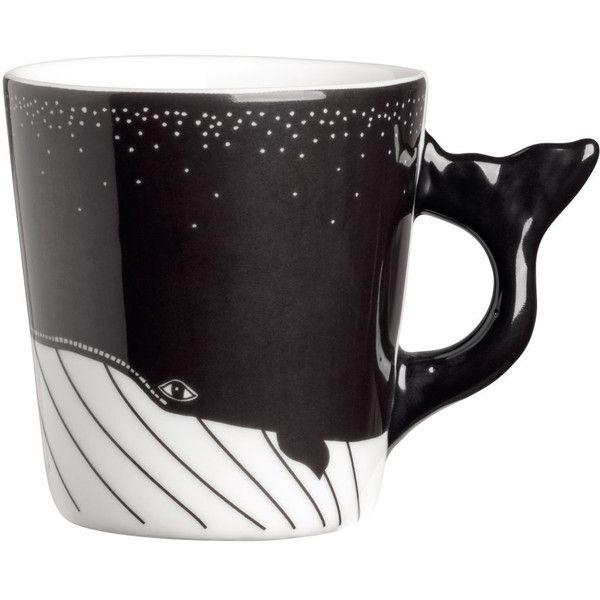 Small Porcelain Mug $5.99 ($5.99) ❤ liked on Polyvore featuring home, kitchen & dining, drinkware, whale mug, porcelain mugs, white porcelain mugs, black mug and white mug