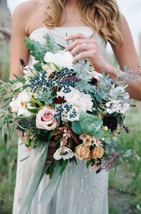 wild organic bouquet - photo by Tulip and Rose Photography http://ruffledblog.com/annabel-lee-wedding-inspiration #weddingbouquet #bouquets