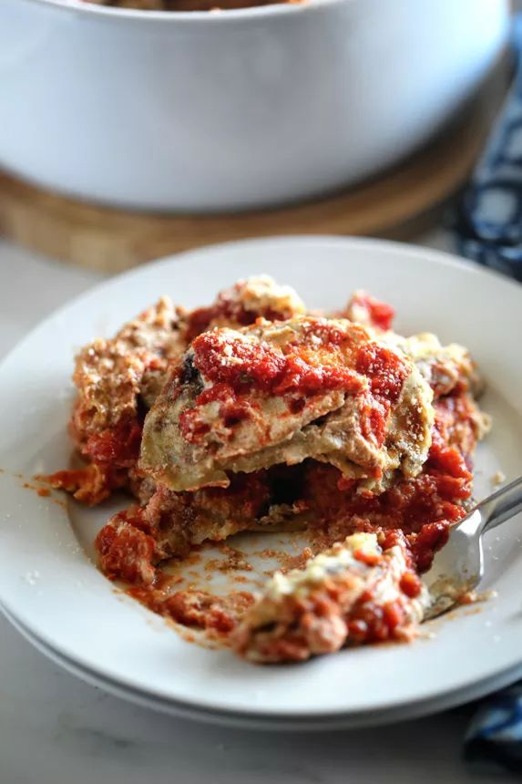 Vegan Baked Eggplant Parmesan Recipe with Fried Eggplant, Marinara Tomato Sauce, and Cashew Cream by Pastabased - Vegan Italian Cooking