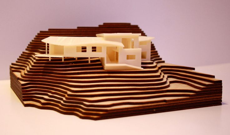 3d Printed Architectural Model Of A House Surrounded By