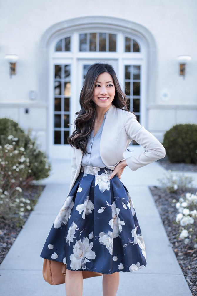 floral A line skirt + blazer // spring work office outfit // petite fashion blog