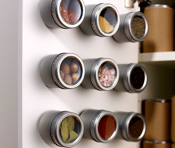 Adhere small spice containers to a cabinet door with Scotch® Multi-Purpose Fastener Squares & 107 best Getting Organized at Home images on Pinterest