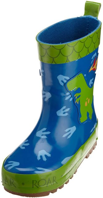 These boys rain boots for toddlers are 100% rubber with a treaded rubber sole to keep children steady on their feet when they encounter wet surfaces.  These boots are easy to slip on and off with the pull tab at the back.  These boots are waterproof and very sturdy.