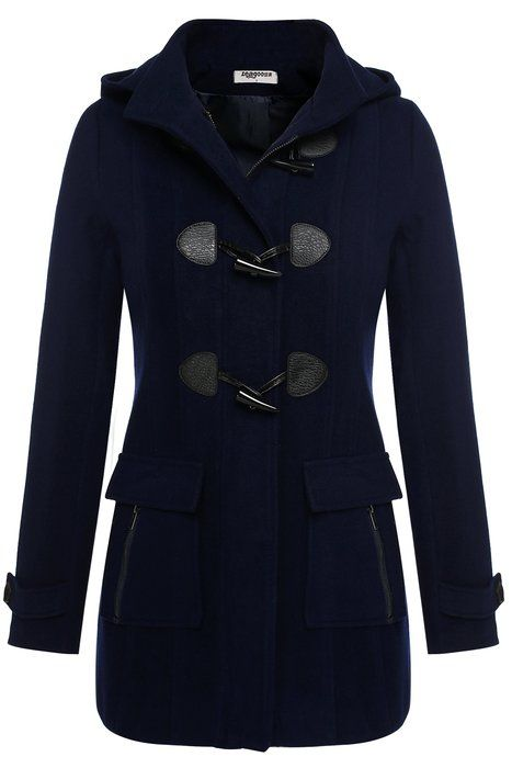 Zeagoo Damen Winter Dufflecoat Wollmantel Wolljacke Marineblau S