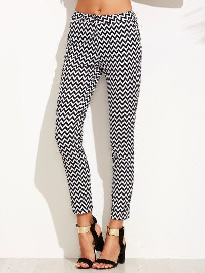 Black And White Chevron Print Skinny Ankle Pants
