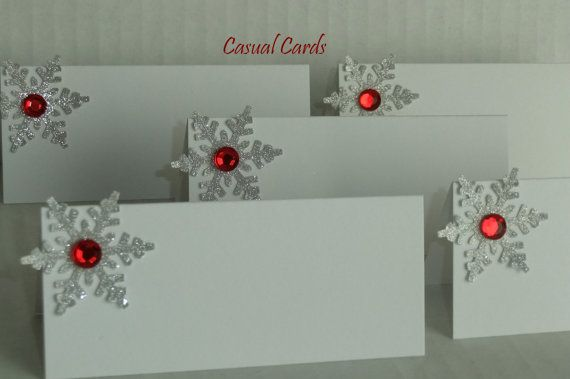 Wedding Silver Red Snowflake Place Cards Escort by CasualCards, $4.30 blue gems instead of red