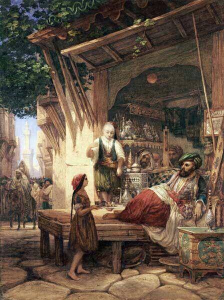 Algérie - Peintre Anglais William WYLD (1806-1889 ), huile sur toile ,Titre : Rue de Bab Azzoun à Alger