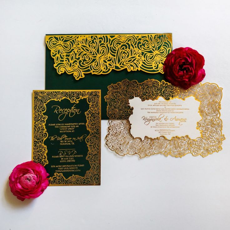 Glamorous houston wedding at the bell tower on 34th for Laser cut wedding invitations houston