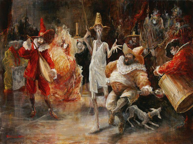 """Marcel Nino Pajot  """"Le Saltimbanque"""",       technique mixte sur toile  (97 x 130 cm)"""