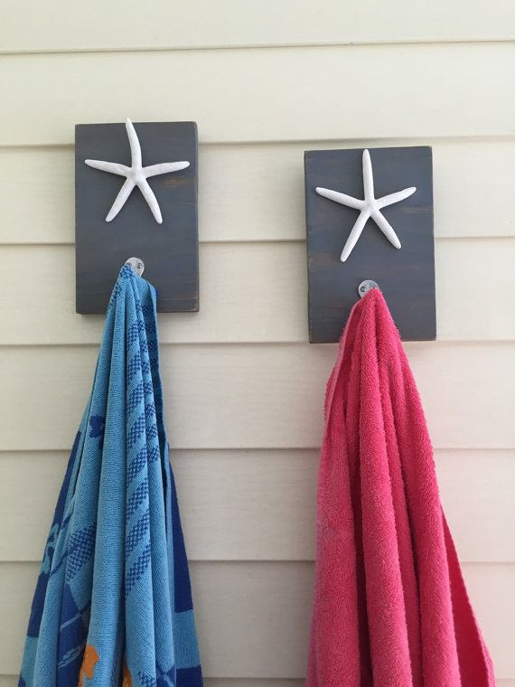 Starfish towel hooks Beach towel rack set of 2 pool от PeavyPieces
