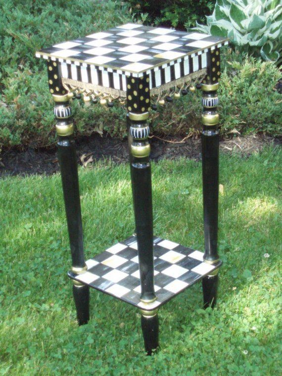 Hand Painted Black and White Table by paintingbymichele on Etsy, $169.95