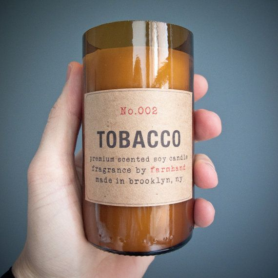 For Bubbs: Tobacco Scented  Ecofriendly hand poured 8oz soy by FarmhandMade, $20.00
