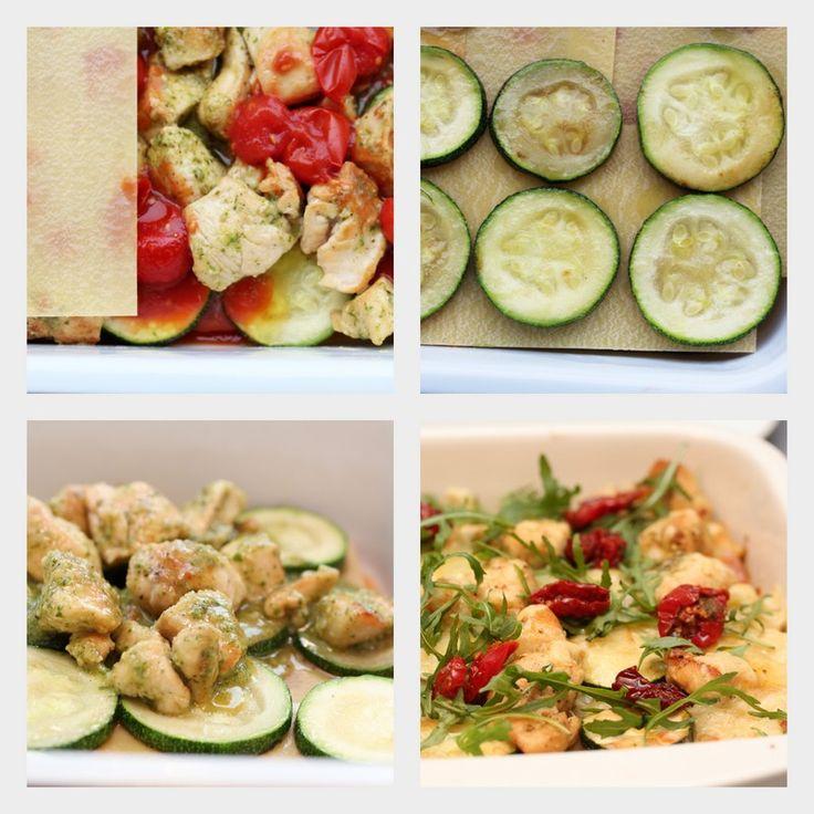 Squash- og kyllinglasagne med pesto og konfiserte tomater
