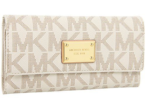 Michael Kors Women's Jet Set Checkbook Wallet PVC Clutch Baguette