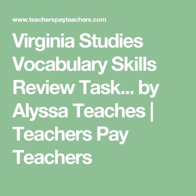 Virginia Studies Vocabulary Skills Review Task... by Alyssa Teaches | Teachers Pay Teachers