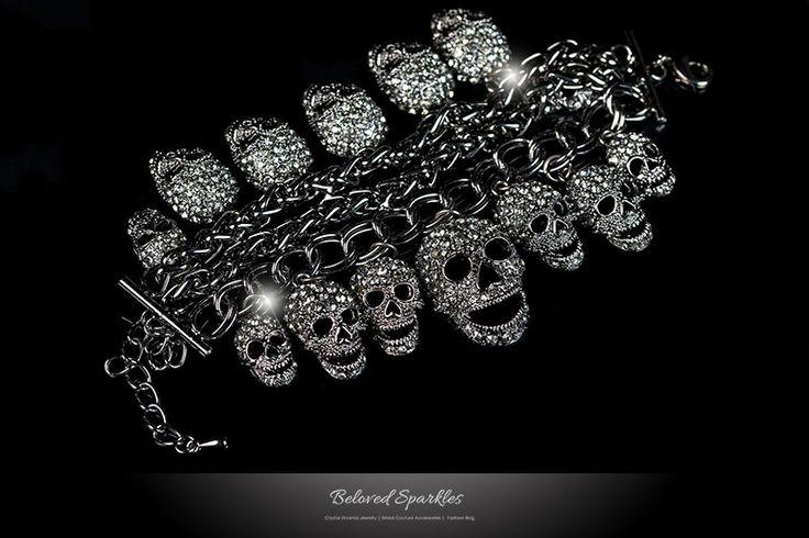 Skulls Cluster Black Diamond Goth Fashion Bracelet - 6.5 INCH | Crystal