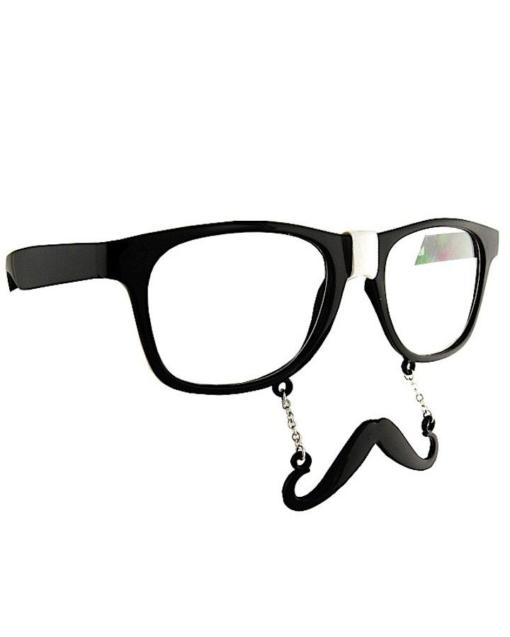 Black Geek Glasses with Stache