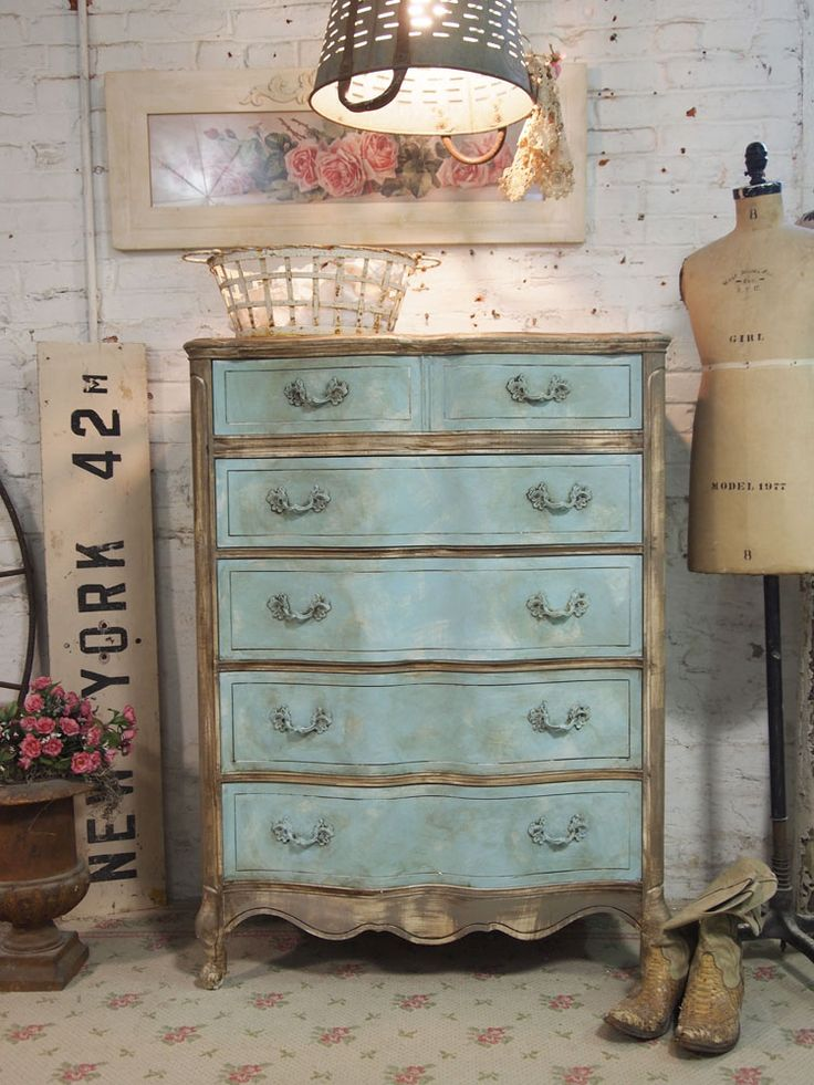 Painted Cottage Chic Shabby Aqua French Dresser