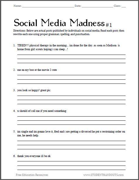 Social Media Madness Grammar Worksheet #1 | Free worksheet for high ...