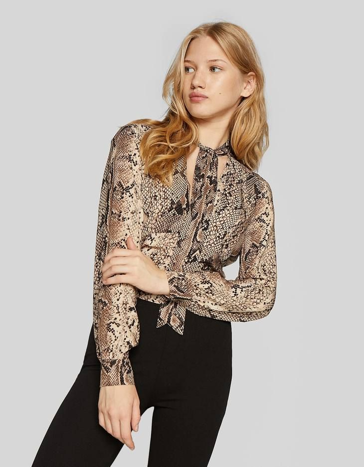e662168d0c2 At Stradivarius you ll find 1 Snakeskin print blouse with tie neck for just  19.99 £. Visit now to discover this and more Shirts   Blouses.