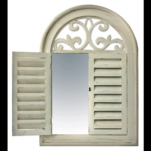 Cream wooden arch shuttered mirror shutters interior for Cream french doors