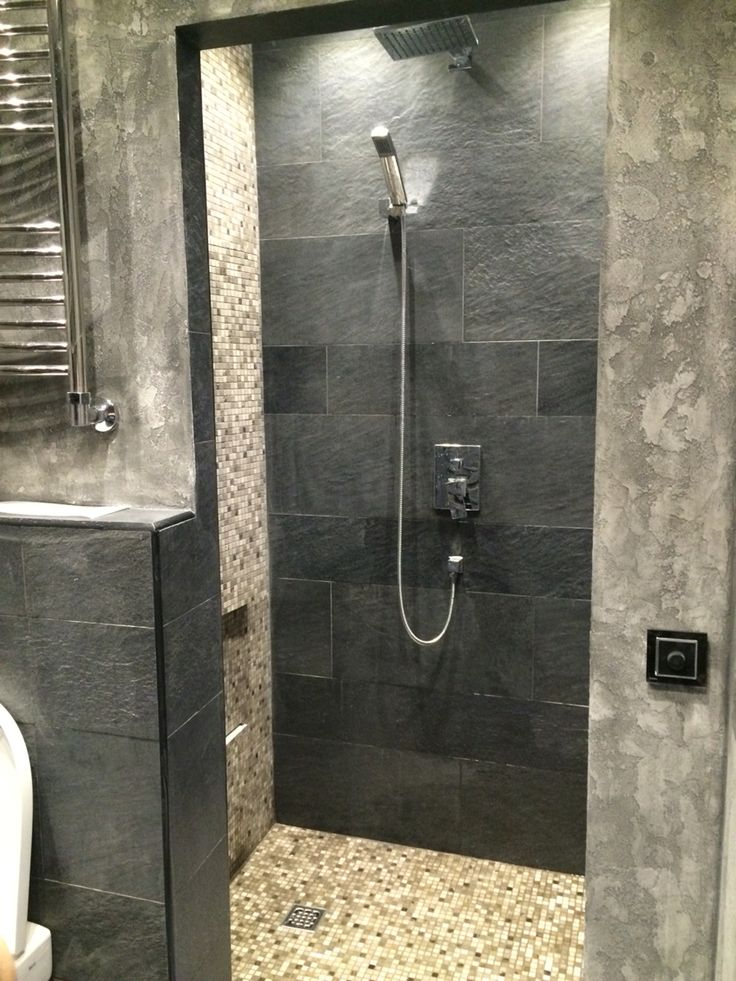 душевая bathroom, grey wall, design, natural material, stone, schist, ideas