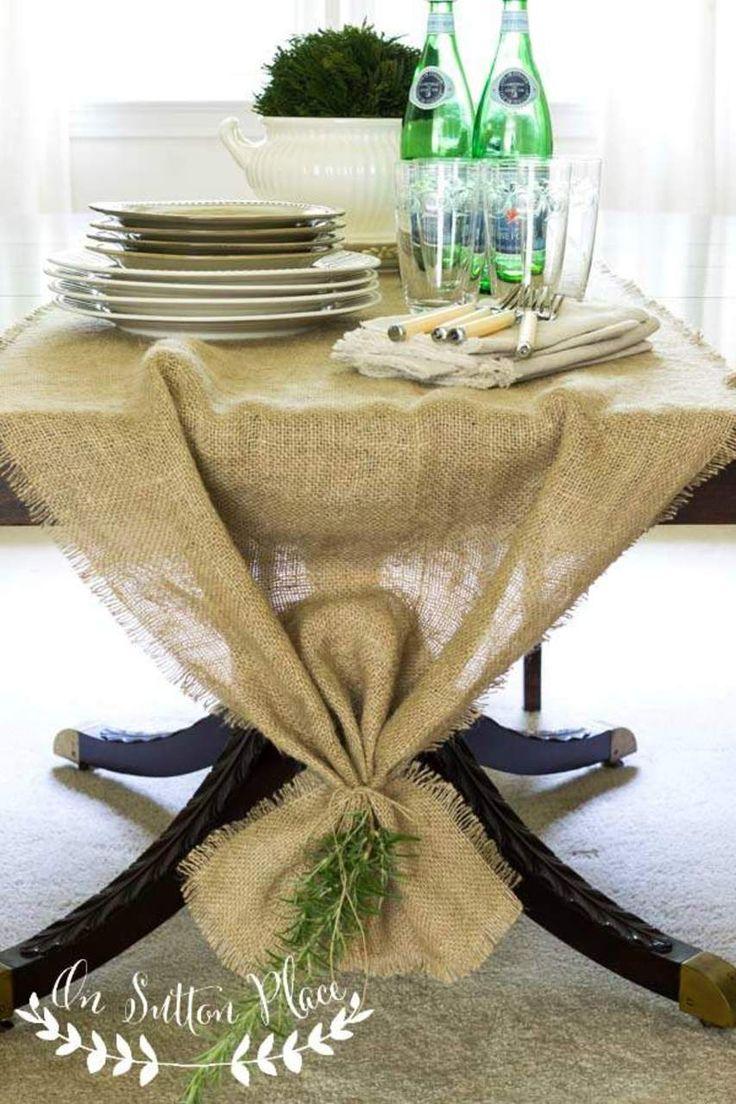 Easy No Sew Burlap Table Runner http://www.onsuttonplace.com/2014/08/easy-no-sew-burlap-table-runner/