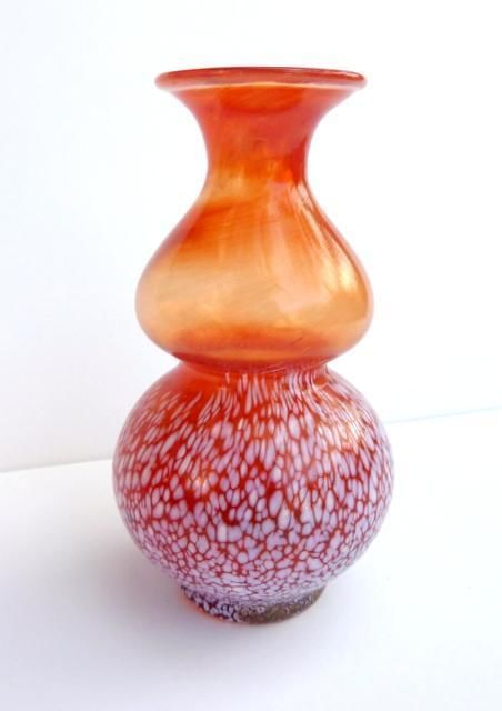 Signed Hadeland Glassverk Art Glass Vase Norway 1960's Orange Willy Johansson | eBay