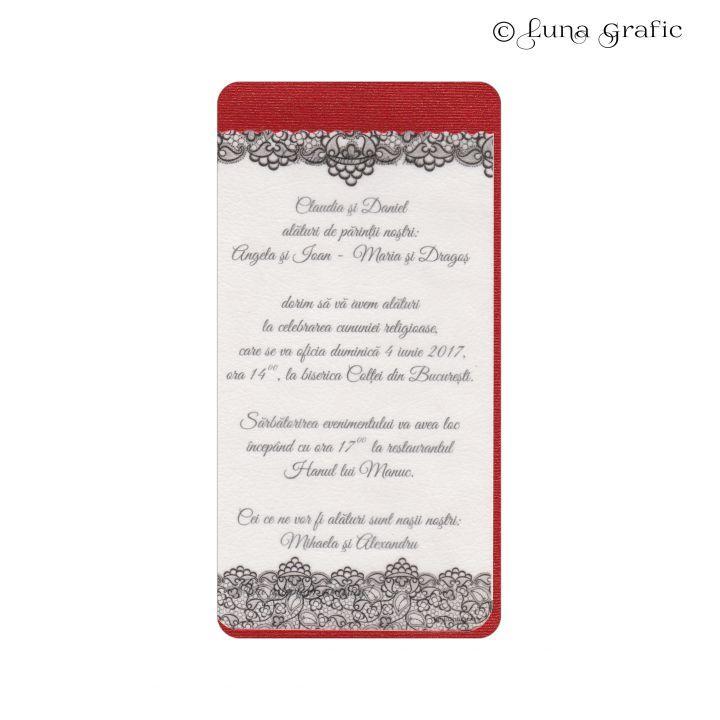 """Invitatii de nunta handmade """"Dantela""""  Invitatie in 3 straturi de hartie. Pentru suport am folosit un carton sidefat, textul este printat pe un carton texturat, iar modelul de suprafata este realizat pe hartie de calc. Plicul este, de asemenea, in ton cu invitatia si fabricat din carton texturat. El este inclus in pret si se livreaza impreuna cu invitatia propriu-zisa. Pentru ca totul sa fie perfect alegem impreuna culoarea si tipul cartonului astfel incat sa aveti un set de invitatii."""