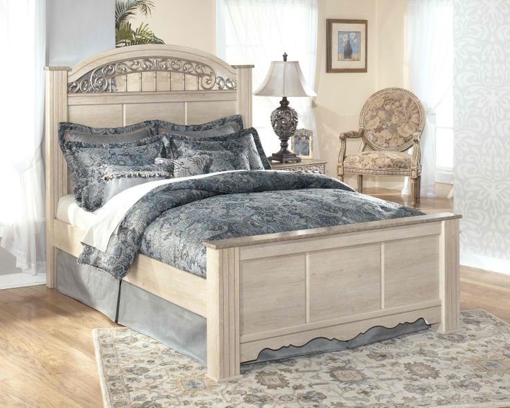 Catalina B196 Queen-Size Poster Bed with Ornate Headboard Insert by Signature Design by Ashley Part of the Catalina B196 Collection Sku: B196-67+64+98 Add To Cart + Retail: $442.00 Now Only: $337.00 Rent To Own For $11.67/week -  Call For Details