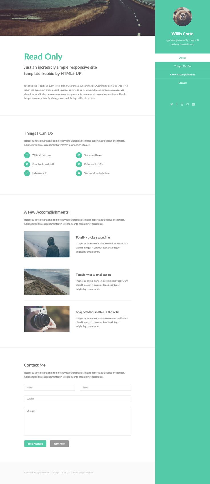 Read Only is a super simple single-page responsive HTML5 website template built for personal sites and portfolios. It features a contact form, pre-styled elements, and Sass sources. Read Only is fully responsive and retina ready HTML5 template.