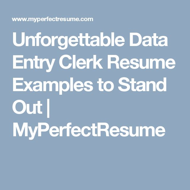 Unforgettable Data Entry Clerk Resume Examples to Stand Out | MyPerfectResume