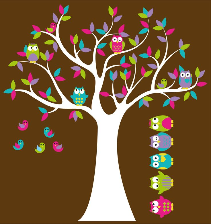 Kids Tree with 4 owls 7 birds and set of 4 FREE owls nursery vinyl wall decal. $85.00, via Etsy.
