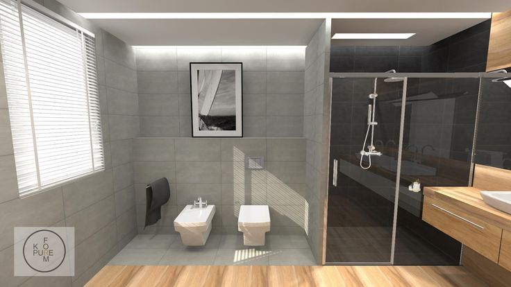 modern gray and wood bathroom http://www.kppureform.pl/