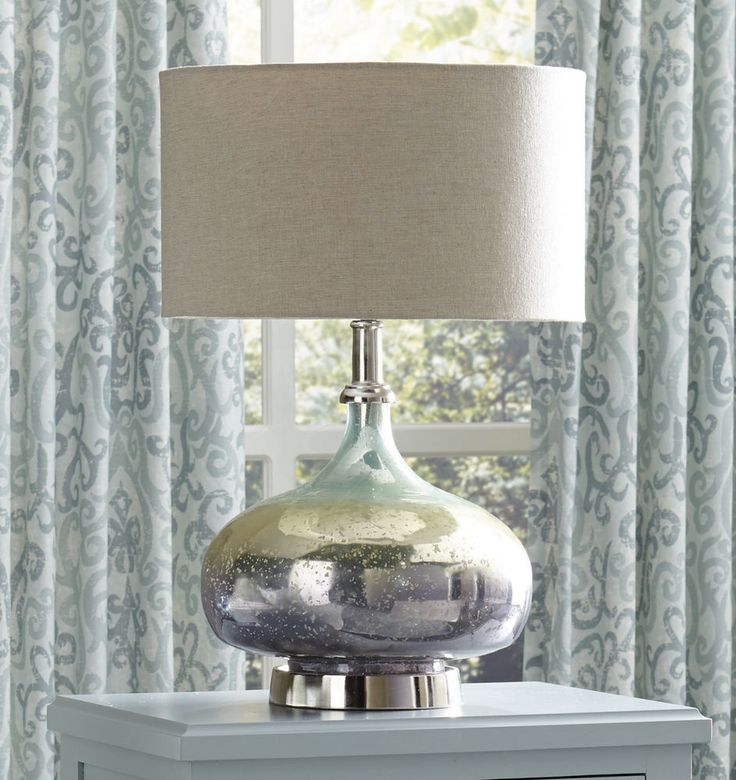 Loryn Glass Lamp With Shade Mercury Look Ombre Finish 22 Inches H